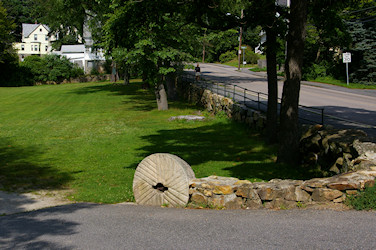 Mill Stone at entrance of Town Park